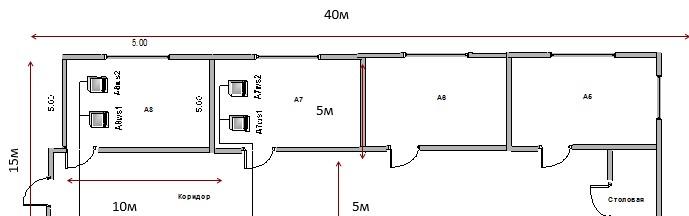 Физическая схема разрабатываемой ЛВС первого этажа здания
