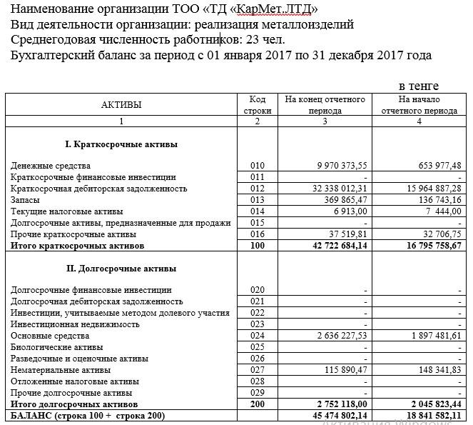 Бухгалтерский баланс за период с 01 января 2017 по 31 декабря 2017 года