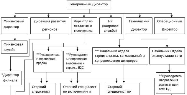 Схема организационной структуры в OOO «Unitel».