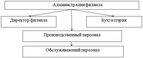 Организационная структура филиала ТОО «Наш Маркет»