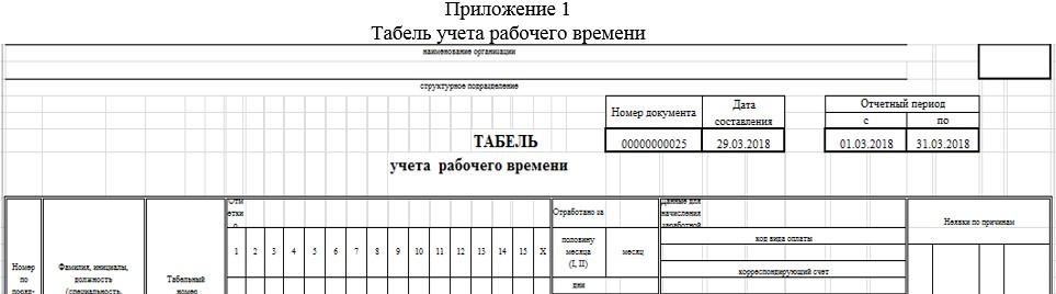 Приложение 1 Табель учета рабочего времени