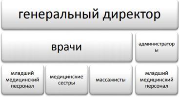 Рисунок 1. Организационная структура управления в ТОО «Медицинский центр» г. Жезказган