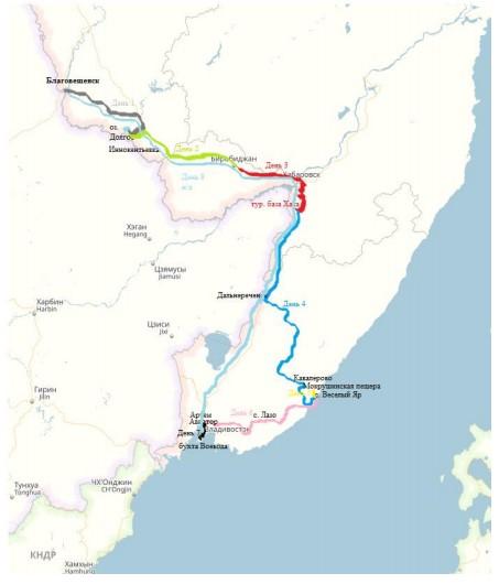 Рисунок 3 – маршрут автотура «По дороге на Юг»
