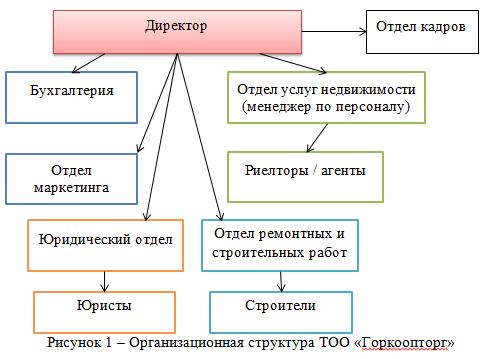Организационная структура ТОО «Горкоопторг»