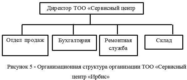 Организационная структура организации ТОО «Сервисный центр «Ирбис»