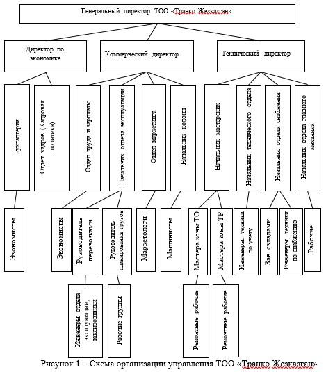 Схема организации управления ТОО «Транко Жезказган»