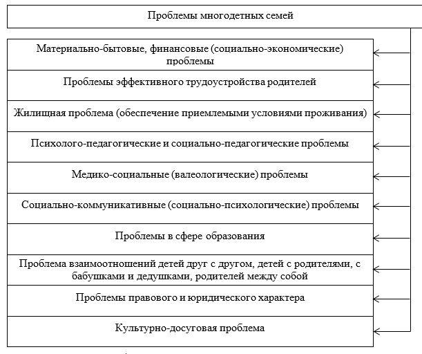 Классификация проблем многодетных семей.
