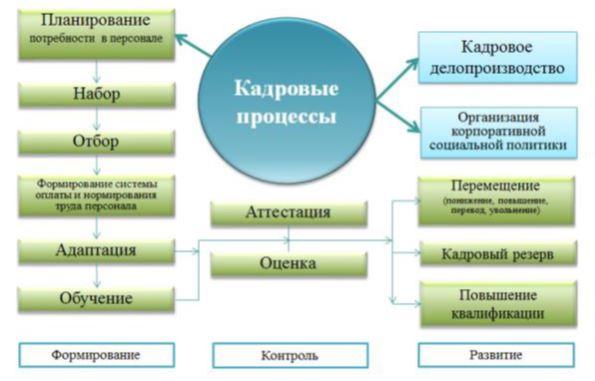 Схема кадровых процессов химиотерапевтического отделения ТОО «Национальный научный онкологический центр»