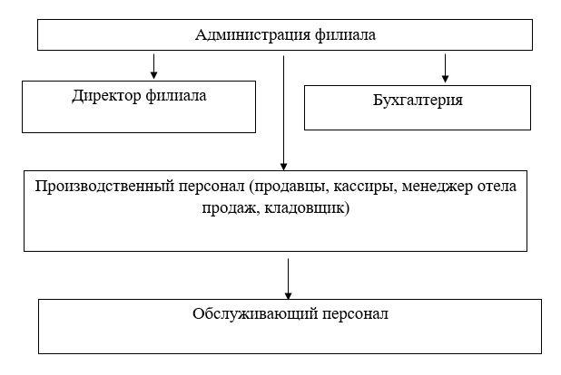 Организационная структура филиала ТОО «Мечта Маркет» в городе Усть-Каменогорск
