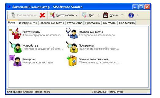 Интерфейс программы Sandra