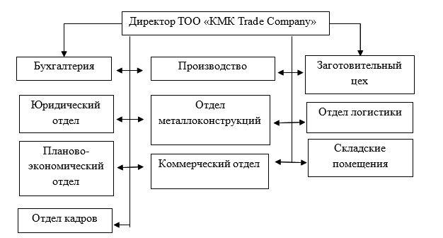Организационная структура ТОО «КМК Trade Company»