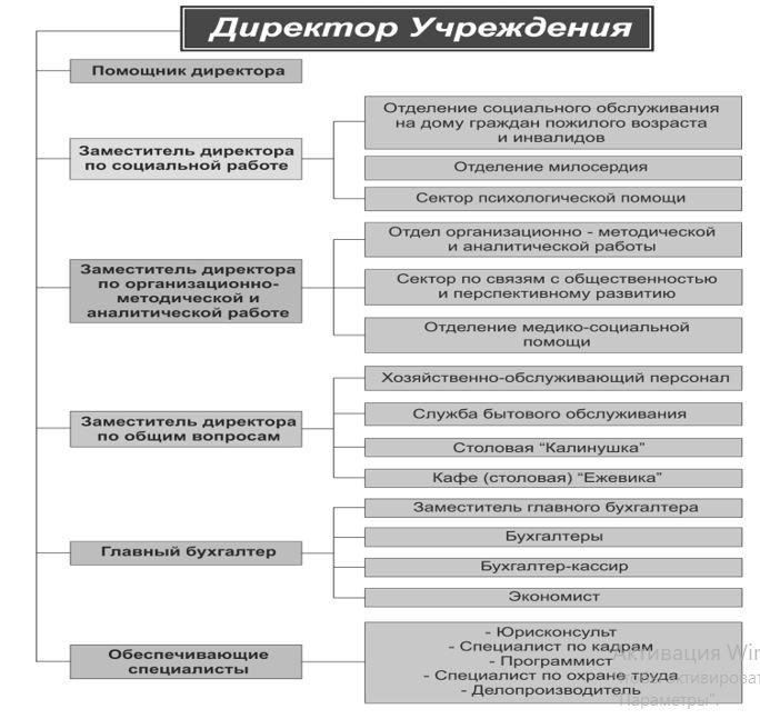 Схема внутренней структуры организации