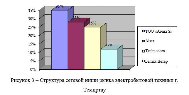 Структура сетевой ниши рынка электробытовой техники г. Темиртау