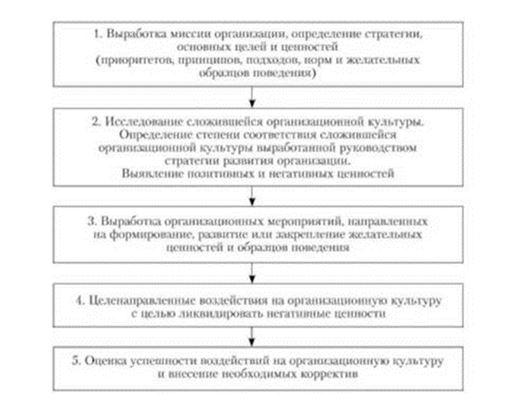 Этапы формирования организационной культуры [15]